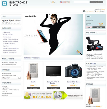Electronics online store web cms themes free